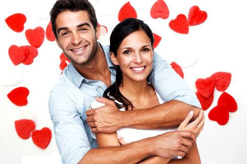 Man and woman hugging with red hearts on white background